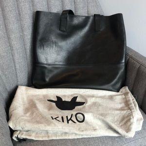 Kiki Leather Oversized Tote Bag Black
